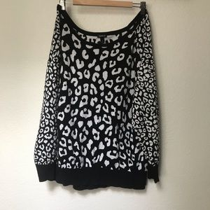 Torrid Off Shoulder Cheetah Black + White Sweater